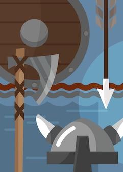 Poster vichingo con armature e armi. cartello scandinavo in stile cartone animato.