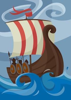 Poster vichingo con drakkar. cartello scandinavo in stile cartone animato.