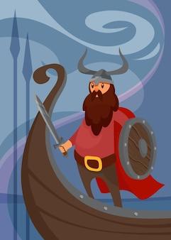 Poster vichingo con guerriero sulla nave. cartello scandinavo in stile cartone animato.