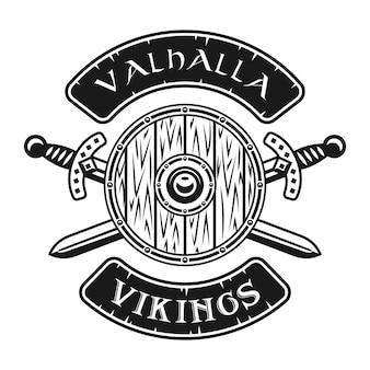 Scudo vichingo e spade incrociate emblema vettoriale, etichetta, distintivo, logo o stampa t-shirt in stile monocromatico isolato su sfondo bianco