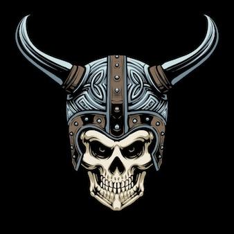 Disegno dell'illustrazione del casco del cranio vichingo