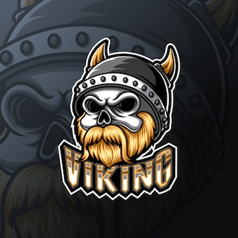 Mascotte del teschio vichingo e design del logo sportivo