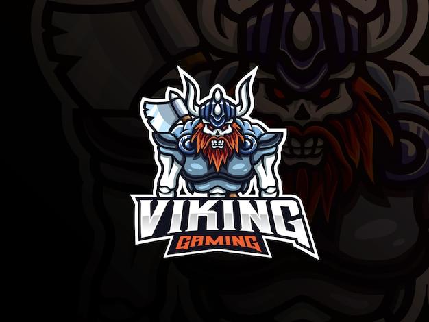 Logo design teschio vichingo sport mascotte