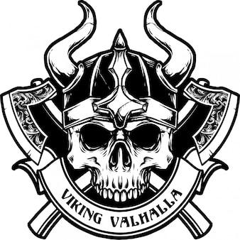 Cranio di viking con l'illustrazione di vettore dell'arma