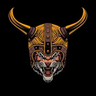 Disegno dell'illustrazione del casco della tigre vichinga