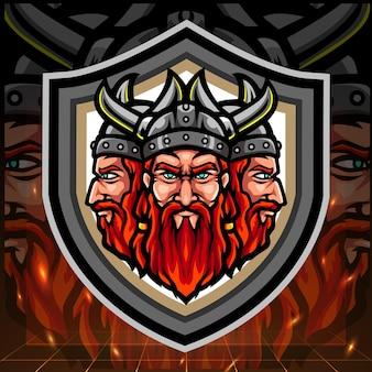 Viking mascotte a tripla testa Vettore Premium