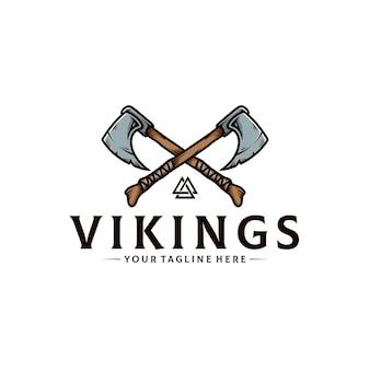 Modello di logo di ascia guerriero vichingo