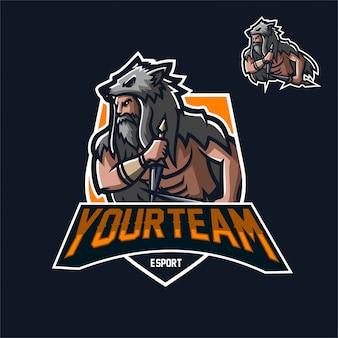 Modello di logo mascotte gaming guerriero esport vichingo