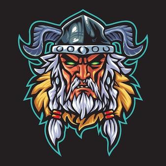 Viking warrior esport logo illustrazione
