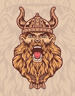 Illustrazione del guerriero vichingo che indossa un elmo vichingo