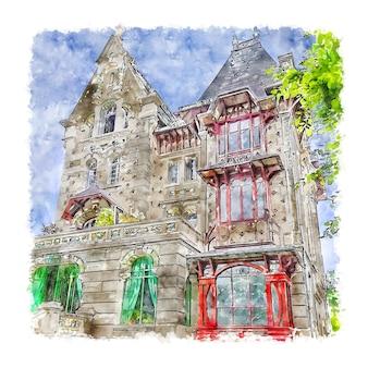 Illustrazione disegnata a mano di schizzo dell'acquerello di villa alecya francia