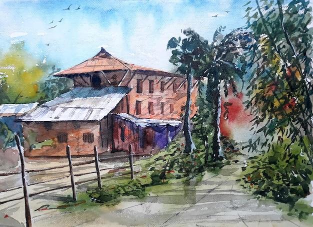 Illustrazione disegnata a mano del paesaggio dell'acquerello della casa del villaggio