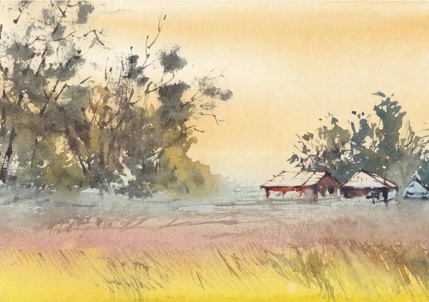Villaggio casa pittura ad acquerello natura