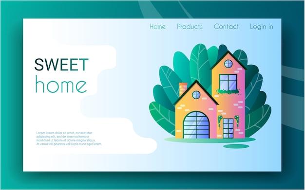 Casa di paese tra gli alberi in stile cartone animato. dolce casa. modello di pagina di destinazione. prenotazione di case.
