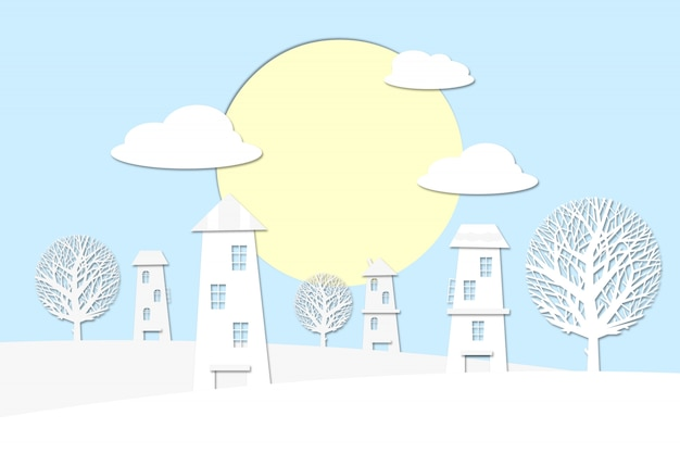 Paesaggio del villaggio con il sol levante sopra le nuvole.