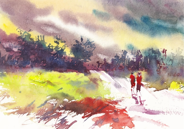 Villaggio strada acquerello paesaggio pittura arte designap