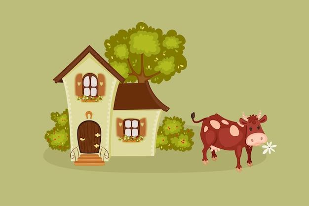 Scena del villaggio con mucca
