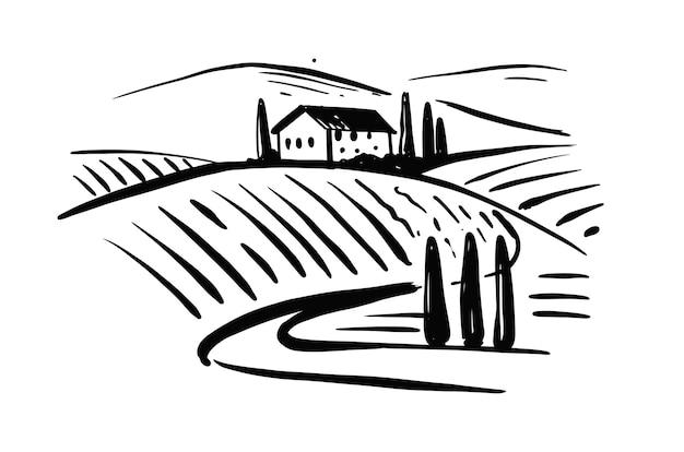 Schizzo di paesaggio di colline di vite.