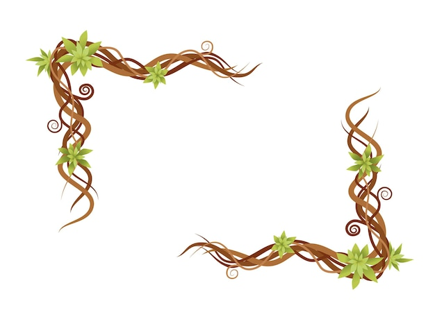 Rami selvatici verdi astratti di pianta di vite telaio piatto illustrazione vettoriale isolato su sfondo bianco.