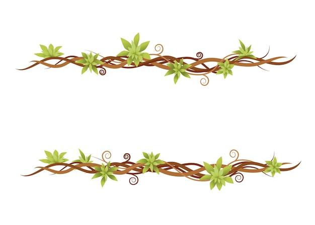 Pianta di vite set verde liane selvatiche rami piatto illustrazione vettoriale isolato su sfondo bianco.