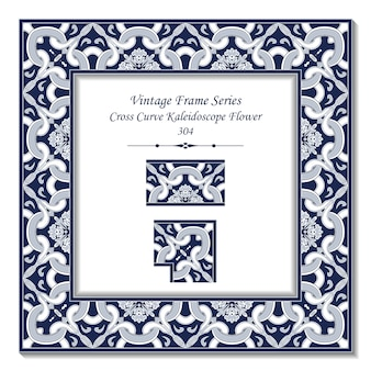 Vintage 3d frame di blue cross curve kaleidoscope flower