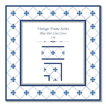 Cornice 3d vintage di blue dot line cross