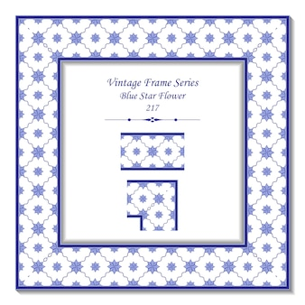 Cornice vintage 3d di blue wave cross line star flower
