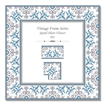 Vintage 3d frame di spirale pianta fiore