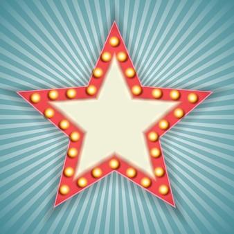 Cornice stella retrò luce 3d vintage.