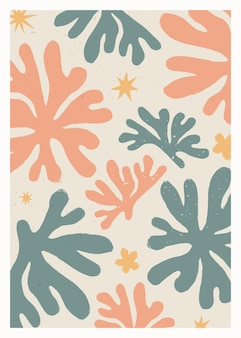 Stampa astratta vintage ispirata a matisse per la decorazione della parete