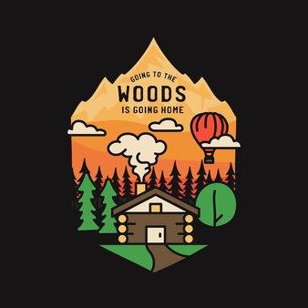 Disegno dell'illustrazione del distintivo di avventura dell'annata. logo esterno con cabina, alberi, montagne e testo: andare nel bosco significa tornare a casa. patch emblema di stile hipster campeggio insolito.