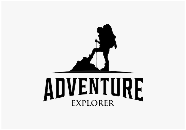 Design del logo dell'esploratore di avventura vintage