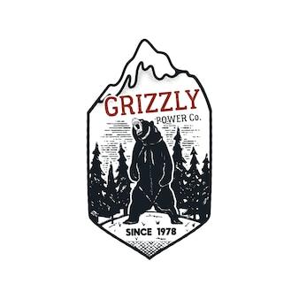 Logo distintivo di potere grizzly avventura vintage