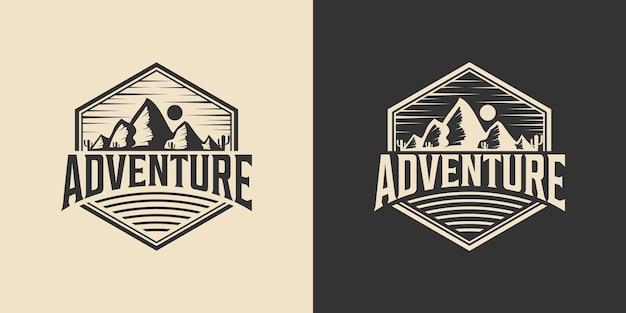 Ispirazione per il design del logo dell'avventura vintage