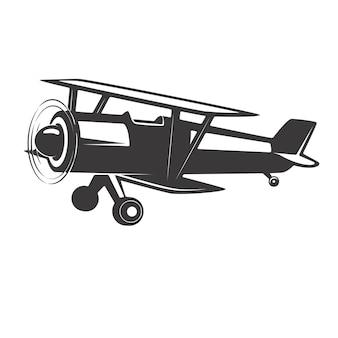 Illustrazione dell'aeroplano dell'annata su priorità bassa bianca. elementi per logo, etichetta, emblema, segno. illustrazione