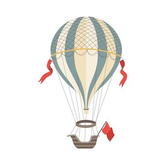 Mongolfiera vintage con sacca a gas a strisce e gondola, illustrazione piatta su bianco