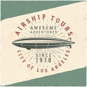 Design t-shirt dirigibile vintage. illustrazione retrò dirigibile