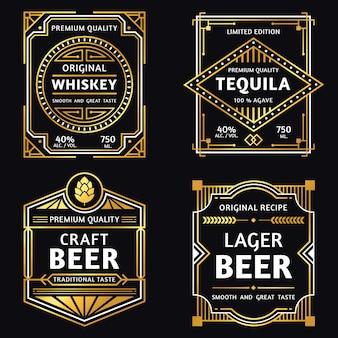 Etichetta alcol vintage. illustrazione di etichette di whisky art deco, segno di tequila, birra artigianale retrò e ager