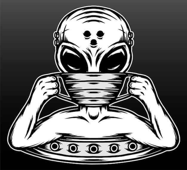 Alieno vintage che indossa un disegno di illustrazione disegnata a mano maschera Vettore Premium
