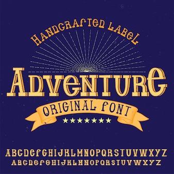 Carattere tipografico alfabeto vintage denominato avventura.