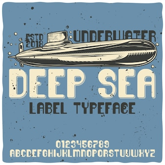 Carattere tipografico alfabeto vintage e sottomarino, deep sea.
