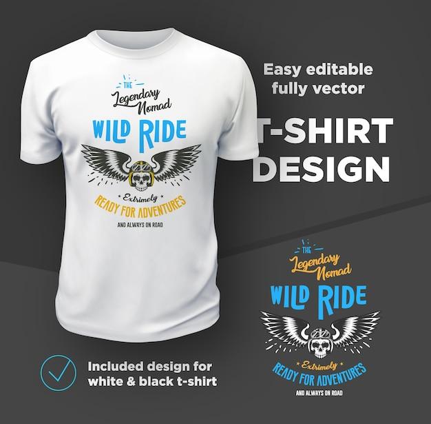 Vintage american bikers club stampa vettoriale isolato su t-shirt bianca.