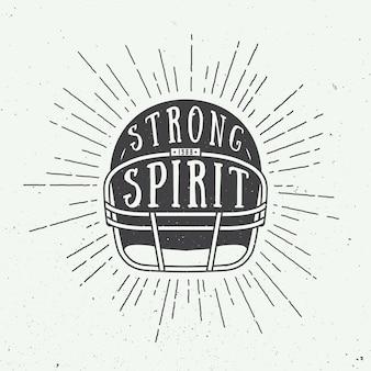 Timone vintage da football americano o rugby con slogan motivazionale. illustrazione vettoriale