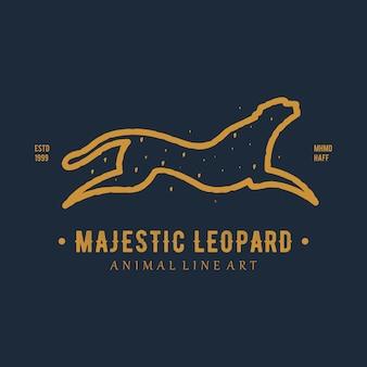 Logo animale vintage maestoso leopardo line art