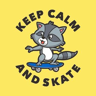 La tipografia di slogan animali vintage mantiene la calma e pattina per il design della maglietta