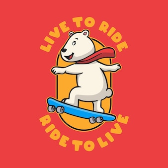 Tipografia di slogan animali vintage live to ride ride to live