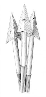 Clipart in bianco e nero dell'illustrazione dell'incisione del disegno della mano d'annata della freccia isolato