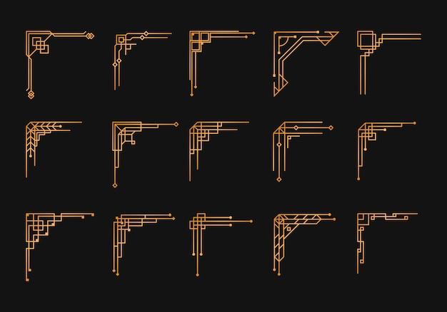 Set angolo art deco vintage. modello geometrico dorato in stile anni '20, angoli artdeco per bordi e cornici. invito, elementi di turbinio di saluto, opere d'arte di inchiostro barocco