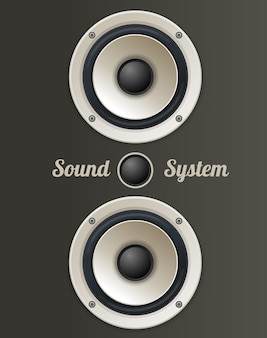 Set di altoparlanti audio vintage. il concetto di sistema audio