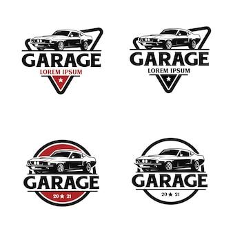 Modello di logo garage automobilistico vintage